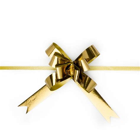 Ribbon Pull Bow Metallic Gold 18mmx53cm Pack 25