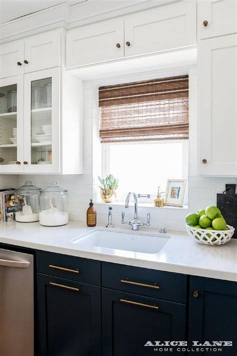 navy blue bottom kitchen cabinets navy blue shaker cabinets with farmhouse sink