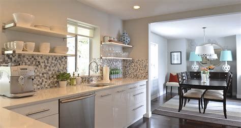 grey kitchen walls with white cabinets blue mosaic backsplash contemporary kitchen andrea 8364