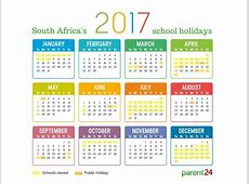 Printable 2017 school holidays in South Africa calendar