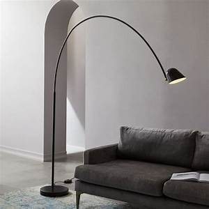 led overarching boom arm floor lamp west elm With overarching floor lamp antique bronze
