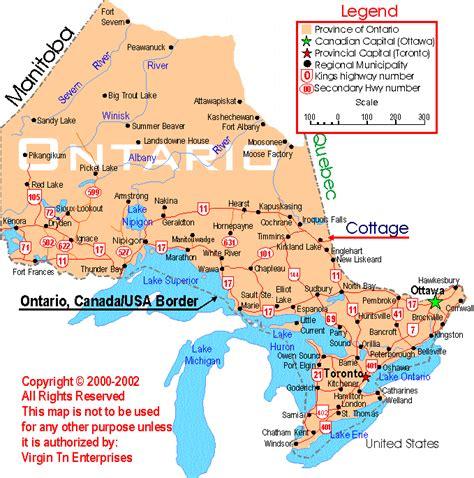 ontario canada map  cities  travel information