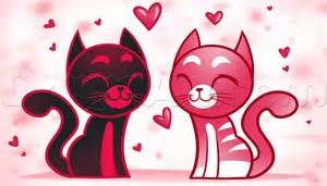 How to Draw Valentine Cats