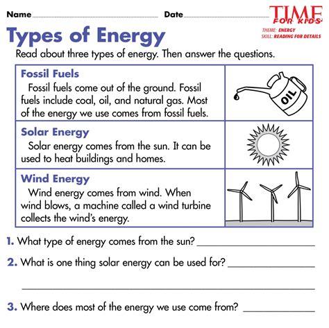 forms  energy worksheet  grade   worksheets