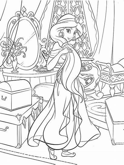 Jasmine Coloring Princess Disney Colouring Coloriage Princesses