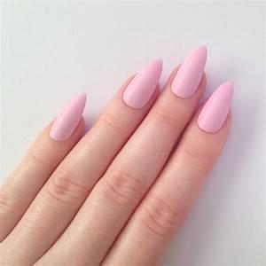 Matte pastel pink stiletto nails Nail by prettylittlepolish