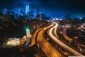 Kuala Lumpur at Night 4K HD Desktop Wallpaper for • Dual ...