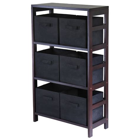 Basket Bookcase by Winsome 3 Section M Wood Storage Shelf Bookcase With