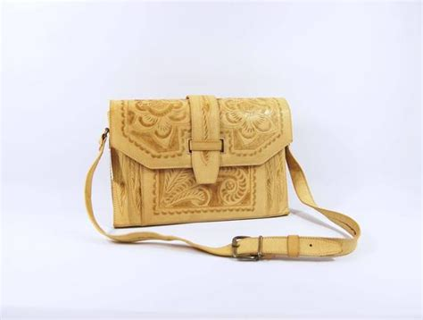 60s tooled shoulder bag light palomino beige etsy