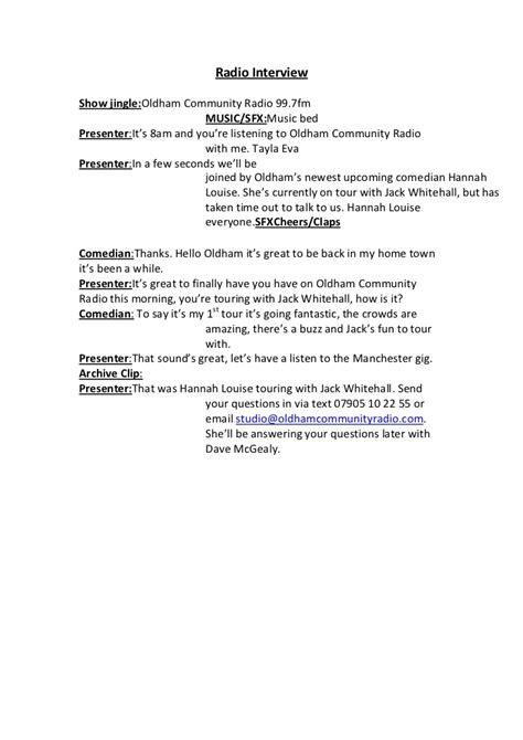radio script template radio script