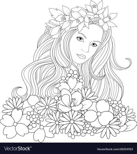 beautiful girl coloring pages royalty  vector image