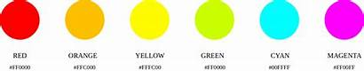 Colors Brightest Noticeable Hex Yellow Orange Cyan