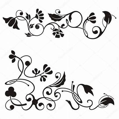 Corner Designs Ornamental Floral Clipart Vector Illustration
