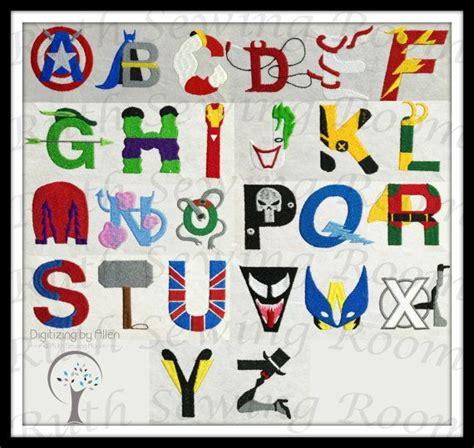 superhero  villain alphabet font embroidery design batman hulk thor robin  flash