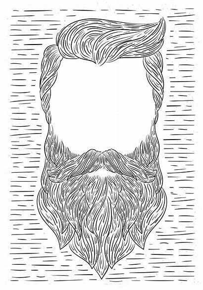 Illustration Hand Drawn Vector Beard