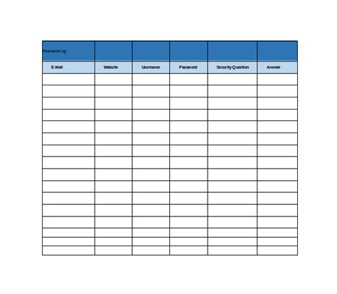 Free Excel Spreadsheet Templates by 9 Password Spreadsheet Templates Free Word Excel Pdf