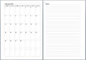 note calender pages printable calendar template 2016