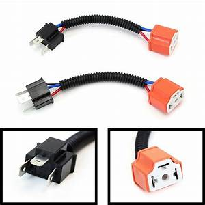 2  H4 9003 Ceramic Wire Wiring Harness Sockets Adpters For Headlights Fog Lamps