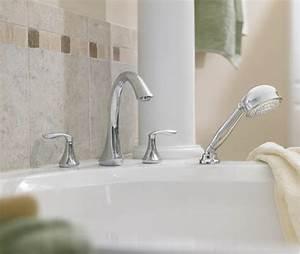 Moen T944 Eva Two-handle Roman Tub Faucet Trim With Hand Shower Chrome