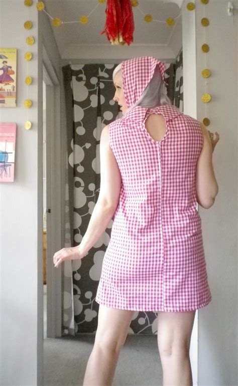reproduction  bibas pink gingham dress sewing