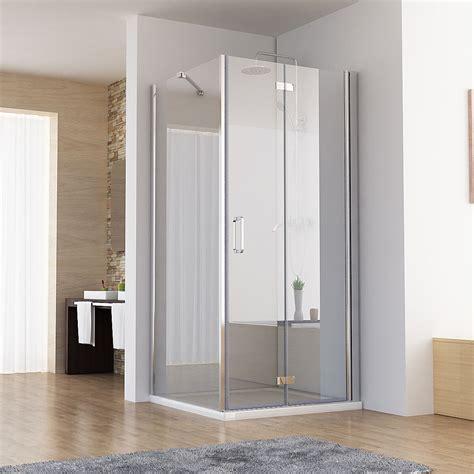 dusche mit pendeltür und seitenwand duschkabine eckeinstieg dusche faltt 252 r duschwand mit seitenwand nano glas 195cm ebay