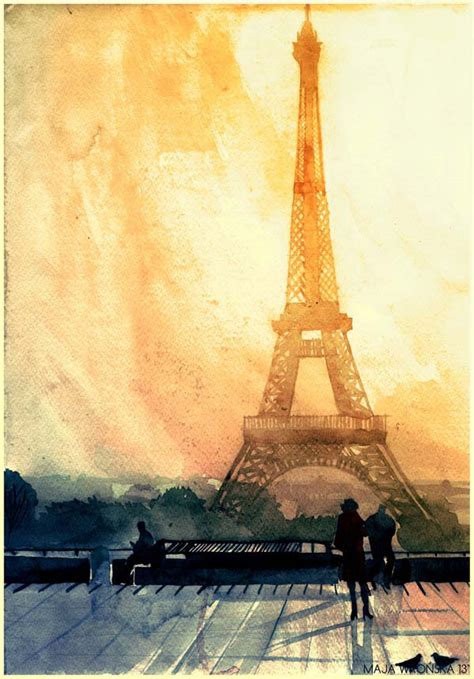 vibrant watercolor paintings  world famous landmarks