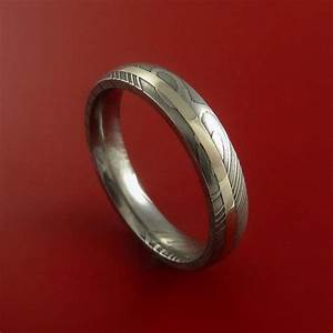 damascus steel 14k white gold ring hand crafted wedding With wedding ring custom