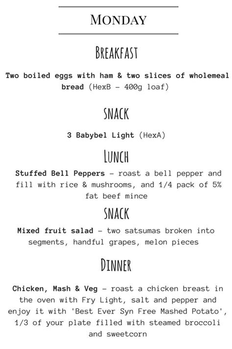 Seven Day Meal Plan   Slimming World Recipes   Slimming
