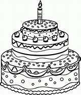 Coloring Cake Coloringhome Birthday Popular sketch template