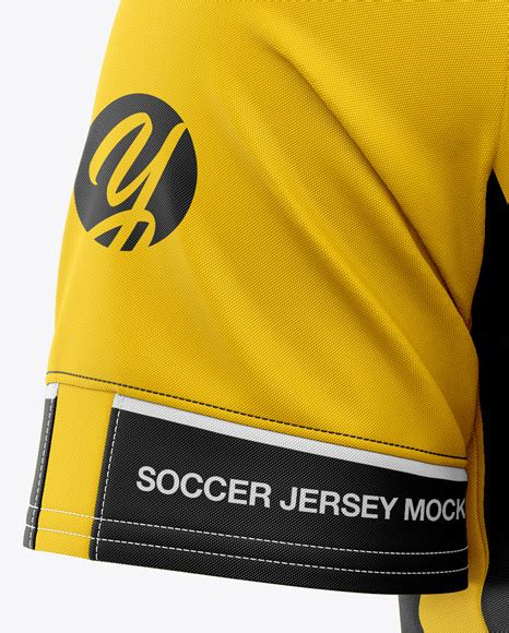 Inside psd you can change the color of collar area, shoulders artwork, already placed stripes color, under armpits stripes, change the logo on the left of jersey and change the background color divided into two. Men's Soccer Jersey Mockup - Front Half-Side View ...