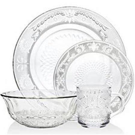 glass clear dinnerware dinner floral flower service dining renaissance piece walmart