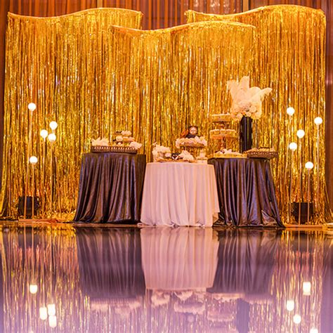Foil Curtain Backdrop by New Shimmer Foil Glitter Tinsel Metallic Backdrop Curtain