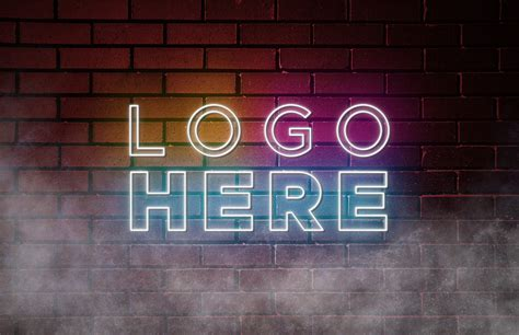 Free Neon Logo Mockup - GraphicsFamily