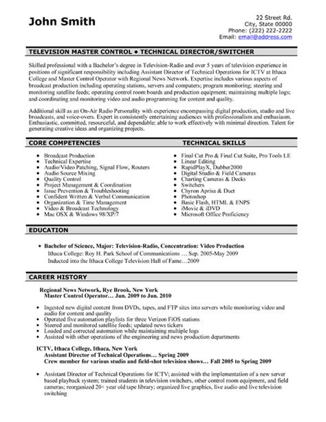 Tv Director Resume by Television Master Controller Resume Sle Template