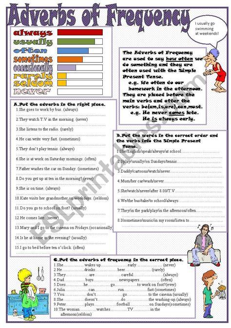 adverbs  frequency esl worksheet  kodora