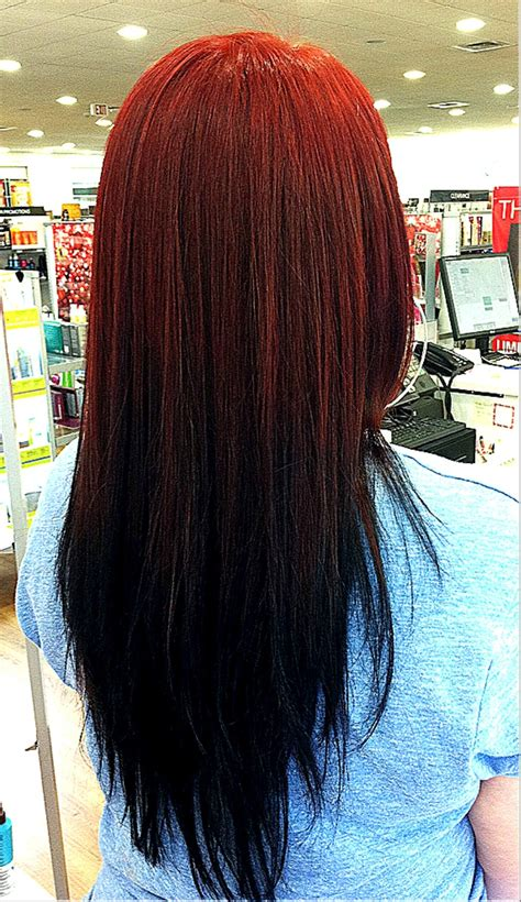 Reverse Ombré Red To Black Fade Hair Reverse Ombre