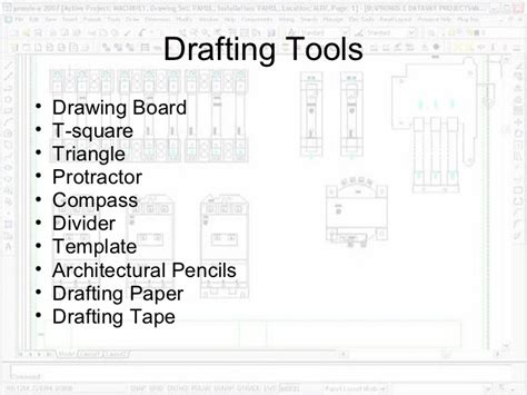 mechanical equipments list drafting equipment and procedures