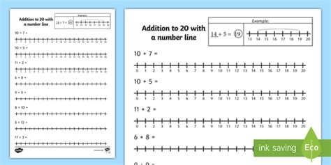 addition to 20 with a number line worksheet twinkl