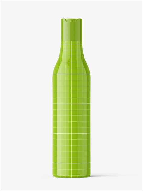 Separate smart object label layer. Bottle with disctop mockup / glossy - Smarty Mockups