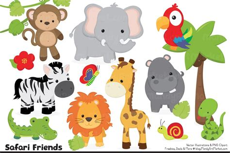 animal clipart jungle animal clipart illustrations creative market