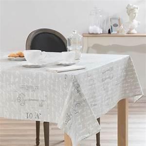 Nappe Rectangulaire Grise : nappe enduite en lin grise 140 x 250 cm manufacture royal ~ Teatrodelosmanantiales.com Idées de Décoration