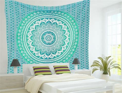 indian mandala tapestry hippie wall hanging ombre ethnic