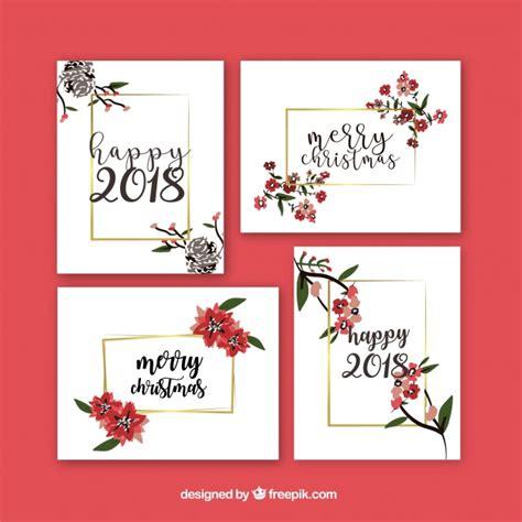 Beau Jeu De Cartes De Voeux De Nouvel An Avec Des Fleurs