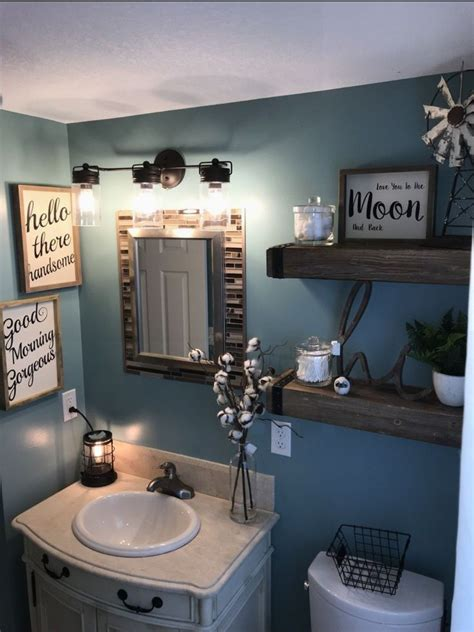 Even if you only have a modest space in which to work, you can find ways to open up space and create an aesthetically pleasing respite by applying some inspiration from this collection. Farmhouse bathroom Love the color of the walls | Small bathroom decor, Farmhouse bathroom decor ...