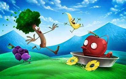Cartoon Funny Background Desktop Wallpapers Backgrounds Fruits