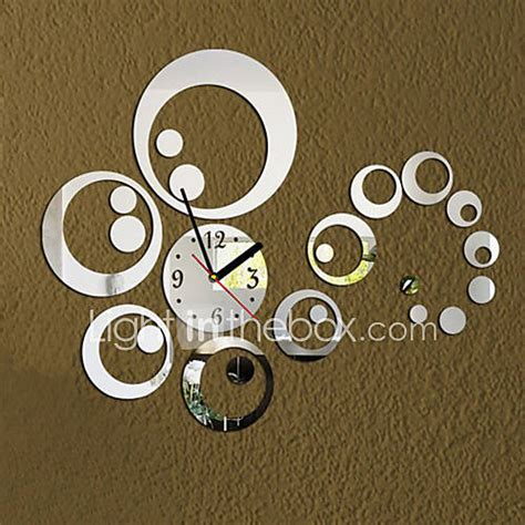 3d modern style acrylic diy ring mirror wall clock 2080708