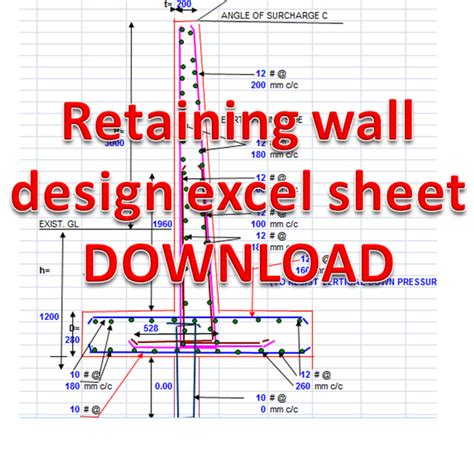 concrete retaining wall design excel sheet free