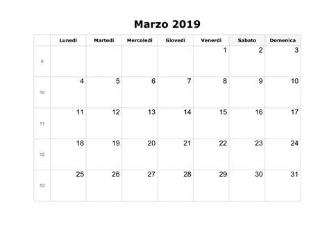calendario annuale 2019 da stare gratis calendario marzo 2019