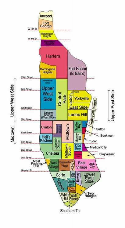 Manhattan Neighborhoods Map Nyc Neighborhood York Island