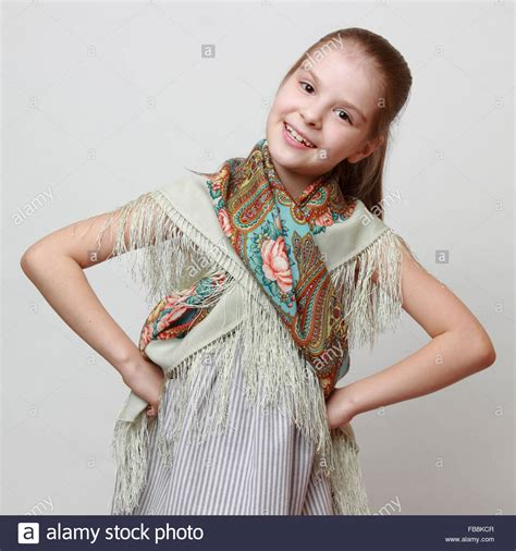 russian  girl  traditional pavloposadskij scarf